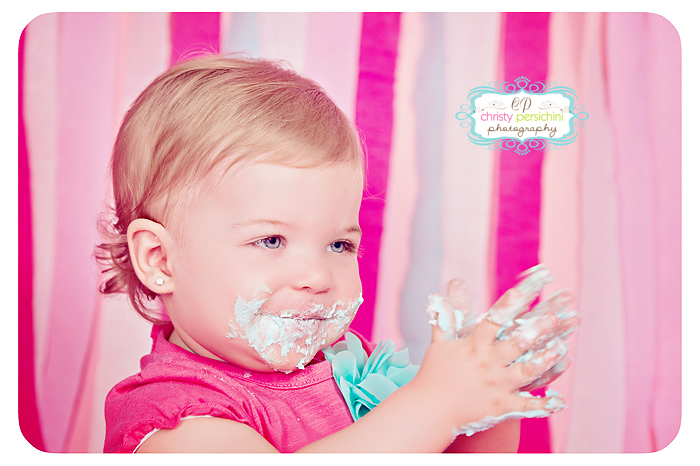 Cake Smash Pink Christy Persichini Photography